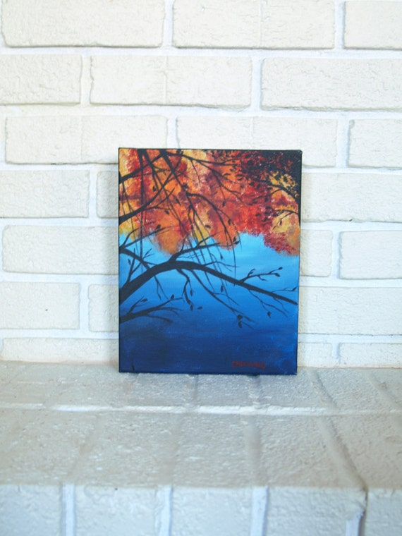 Fall on the Fear- Original Acrylic Painting on Canvas fall, trees, cape fear river, red, blue, orange landscape