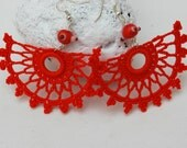 Crochet earrings - Large crochet earrings - Crochet earring jewelry - Coral red - Fan style- Crochet jewelry