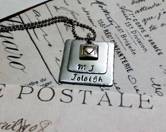 Square Mother's Necklace. Hand-stamped Necklace for Mothers or Grandmothers with Beautiful Heart Charm. Perfect For Mother's Day