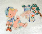 Vintage nursery wall art Rock-a-bye Baby and cradle made by The Dolly Toy Company 1952