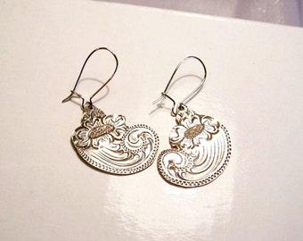 Vintage Sterling Silver Earrings: OOAK Engraved Dangle Earrings- I1035