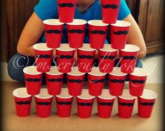 24 Mustache Paper Party Cups-Mustache Cups-Little Man Party-party cups-Mustache party-The Handlebar- RED cups-Little Man-paper cups