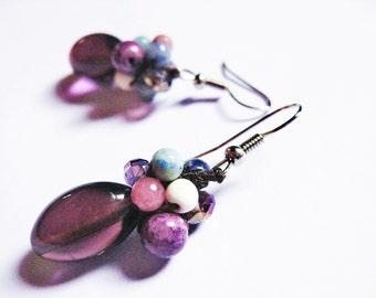 Purple Berries Gemstone Boho Earrings, Purple Gemstone Earrings, Boho Earrings, Grapes Earrings, Multigemstone Earrings, Unique Earrings