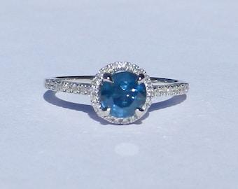 Natural Ceylon 1.36 Carat Sapphire & Diamond Engagement Ring 14kt White Gold
