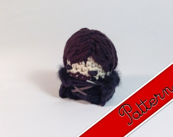"PDF Pattern for Crocheted Game of Thrones Jon Snow Miniature Amigurumi Keychain Dolls ""Pod People"""
