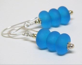 Brilliant Cerulean Blue Lampwork Dangle Earrings