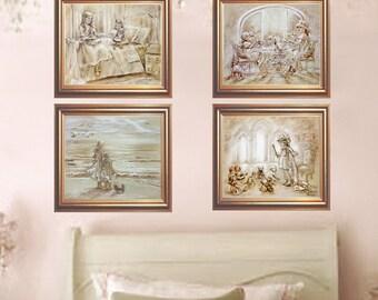 Children's Art, Sets 2- 4 Art Prints, Monotone, Princess, teatime, Dolls, Beach, girls Childrens art, by Laurie Shanholtzer