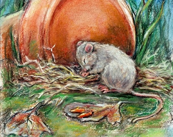 "Animal baby, Mouse, Nursery art  wildlife,Original pastel painting ""Now I Lay Me Down to Sleep"" Laurie Shanholtzer"