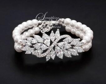 Pearl Wedding Bracelet Bridal Jewelry Wedding Jewelry Bridal Pearl Bracelet Cubic Zirconia Bling Statement Bracelet Rhinestone Eliana B22