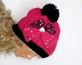 pompom knit Hats for Women -Heart bow,Knit Hat in pink white - Winter beanie hat - - Tam Hat - Adult, Teen, Heart button Hats