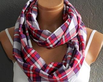 Woman scarf, Tartan Scarf, Plaid Scarf, Scotch Scarf, Spring Scarf, Autumn Scarf, Soft Scarf, infinity scarf, loop scarf, ACCESSORİES, SCARF