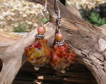 Handmade Red Shell Lampwork Bead Earrings  126