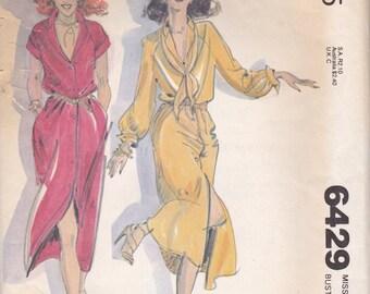 Button Front Dress Pattern McCalls 6429 Size 14