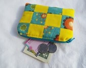 Coin Purse, Zipper Pouch, Change Purse, Patchwork, yellow, teal, flowers, retro, CLEARANCE, sale