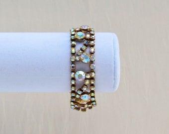 Vintage bracelet with pinkish amber rhinestones, 1950's rhinestone bracelet