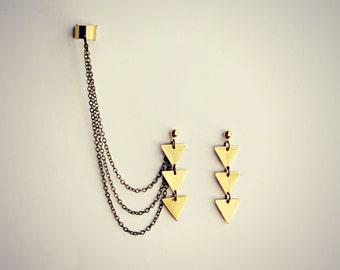 triangle ear cuff earrings, ear cuff with chains, dangle earrings, triangle ear cuff, floral earrings, geometric earrings