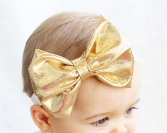 Baby Metallic Gold Bow Headband, Gold Baby Headband, Hipster Baby Headband, Trendy Baby Headband, Blush By Taylor, Modern Baby Accessories