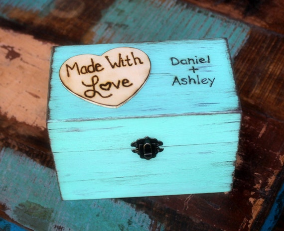Rustic Recipe Box Paint and Distressed in the COLOR of YOUR CHOICE Holds 4 x 6 Cards