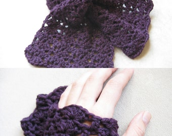 Scarflette and Gloves Crochet Pattern Set - Kait's Shells Scarflette and Fingerless Gloves
