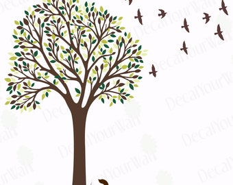 Tree Wall Decal Nursery Decals Bird Stickers Kids Room Large Removable Vinyl Mural Wall Art Decor Cute Squirrel Change Leaves Seasonally