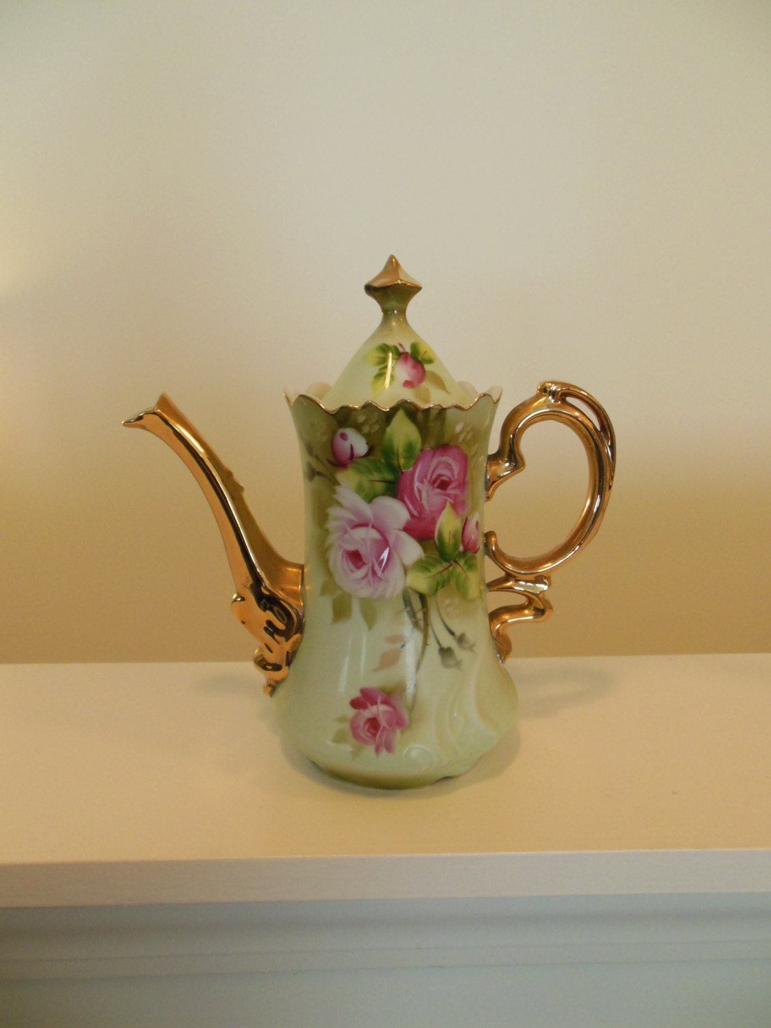 lefton china green heritage teapot coffee pot pink by ellesh71