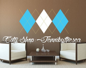 Wall Decal Vinyl Sticker Decals Argyle Print