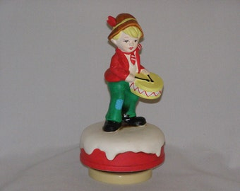 Vintage 1980s Drummer Boy Atop his Mountain Music Box Red Coat Yellow Drums Brown Hat Hand Painted
