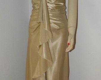 Vintage Rampage Gold Satin Mermaid Ruffle Dress,1980's, Bias Cut, Ruched, Wiggle, Pin-up, Liquid Gold