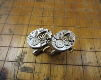 Elgin 655 Watch Movement Cufflinks. Great for Fathers Day, Anniversary, Wedding or Just Because.  #760