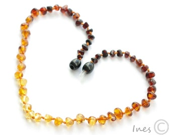 Baltic Amber Baby Teething Necklace Rainbow Color Rounded Beads