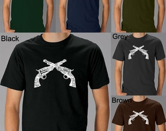 Men's T-shirt - Crossed Pistols - Created Using Commonly Used Names to Describe an Outlaw