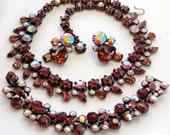 Claudette Rhinestone Necklace Bracelet Earring Parure