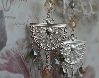 Silver filigree and Swarovski crystal chandelier earrings