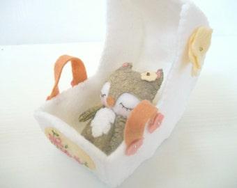 Baby Felt Fox - Baby Bassinet - Small Felt Doll - Gingermelon Doll
