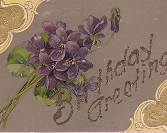 "Ca 1910 Embossed ""Violets"" Birthday Greetings Postcard - 1478"