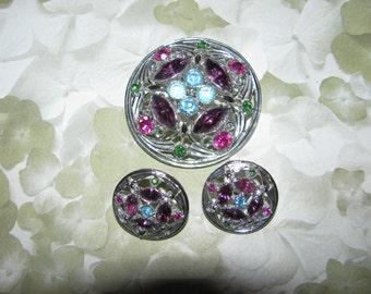 Vintage Silver Tone Multi Stone Rhinestone Sarah Coventry Brooch Pin Earring Set