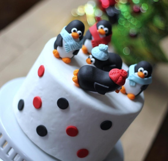 Christmas Cake Decorating Ideas Without Fondant : Items similar to Fondant christmas cake topper with ...
