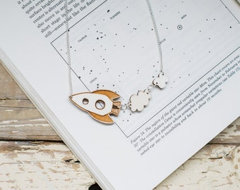 Rocket Ship Wooden Necklace, Laser Cut Plywood Jewellery, Spaceship