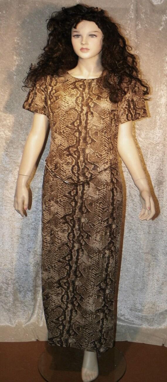 Dress Knit Maxi Snake Print Brown Black Tan w Gold Shimmer Drop Belt  Sz XL