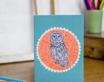 Lady Owl Blank Greetings Card designed by Jessica Hogarth. Wildlife stationery designed and printed in the UK.