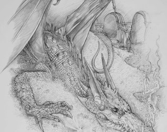 The Hobbit Tolkien print - Smaug the Dragon 5 x 7 inch print - Gift for a Tolkien fan.