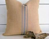 Burlap Pillow / Rustic Pillow / Grey Pillow / farmhouse pillow / french country decor / modern farmhouse decor / burlap decor