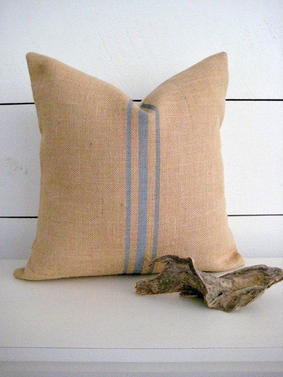 Modern Country Pillows : Items similar to Burlap Pillow / Rustic Pillow / Grey Pillow / farmhouse pillow / french country ...