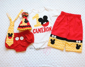 Mickey Mouse Birthday Outfit & Cake Smash Outfit - Free Personalized Shirt, Pants with Real Buttons, Neck Tie, Party Hat, and Diaper Cover