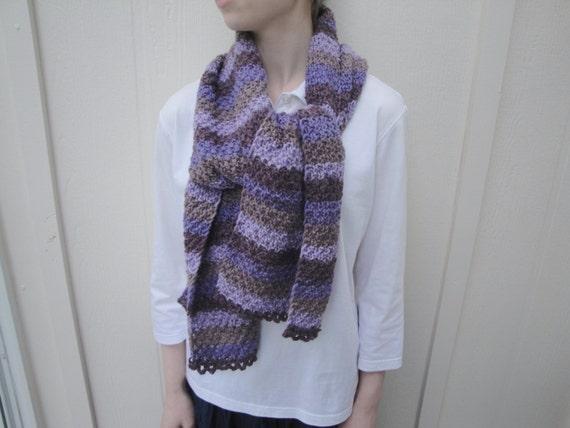 Purple Stripe Scarf for Women & Teen Girls, Hand Knit Acrylic Wool, Soft, Long Wide Muffler, Purple Plum Mauve Chocolate Brown