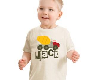 Cement Truck T-shirt, Truck Birthday Shirt, Personalized T Shirt, Toddler Truck Shirt, Boys Birthday Shirt, Construction shirt with name