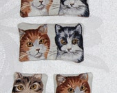4 dollhouse miniature balsam fir cat pillows, matching set of tabby kitten faces