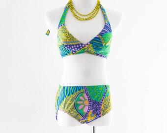 60s Nylon Bikini. SM MED. // Antron Nylon Stretch. Halter bra Top. // Bright, Colorful Swim Wear. Groovy Vintage.
