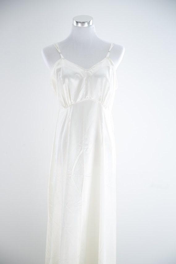 Winter White Slip Dress MED Silk Vintage 1960s