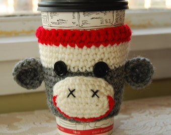 Monkey Coffee Cozy, Animal Cozy, Crochet Coffee Cozy, Crocheted Sock Monkey, Sock Monkey Cozies, Cute Crochet Monkey, Cute Animal Cozy